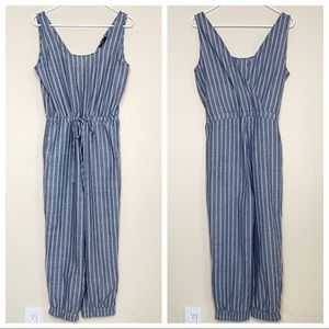 Anthropologie DREW Chambray Striped Jumpsuit